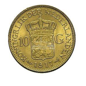 10 Gulden Wolhelmina Goldmünzen Rückseite