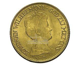 10 Gulden Wolhelmina Goldmünzen Vorderseite