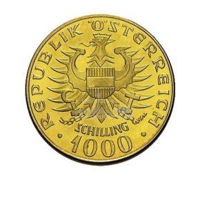 1000 Schilling Oesterreich Goldmünzen Rückseite