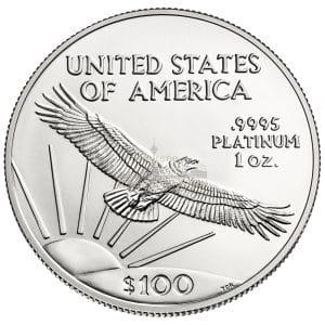 1 Unze American Eagle Platinmünzen Rückseite