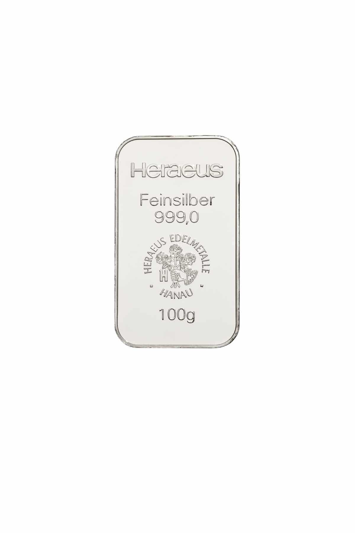 100 Gramm Silber Silberbarren Vorderseite