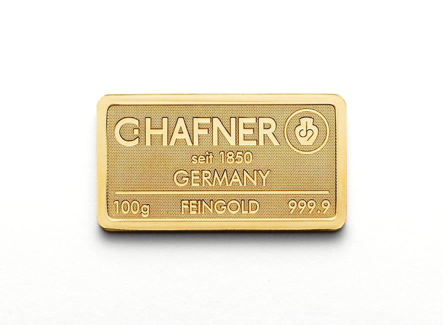 100 Gramm Gold Goldbarren Vorderseite