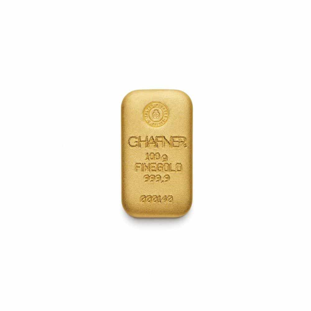 100 Gramm Gold Goldbarren Rückseite