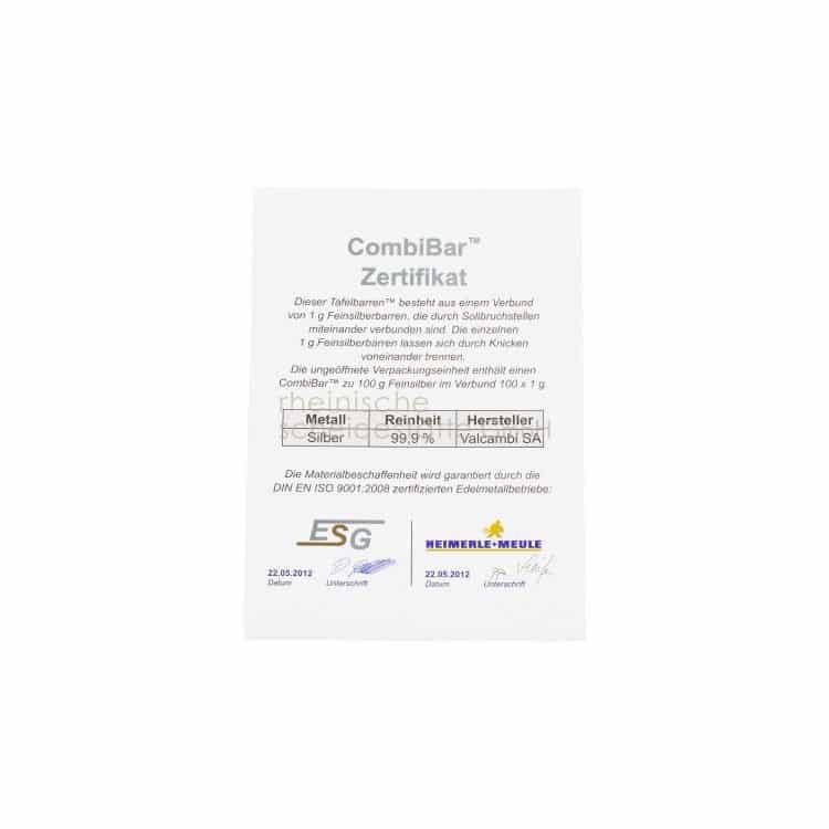 CombiBar Zertifikat