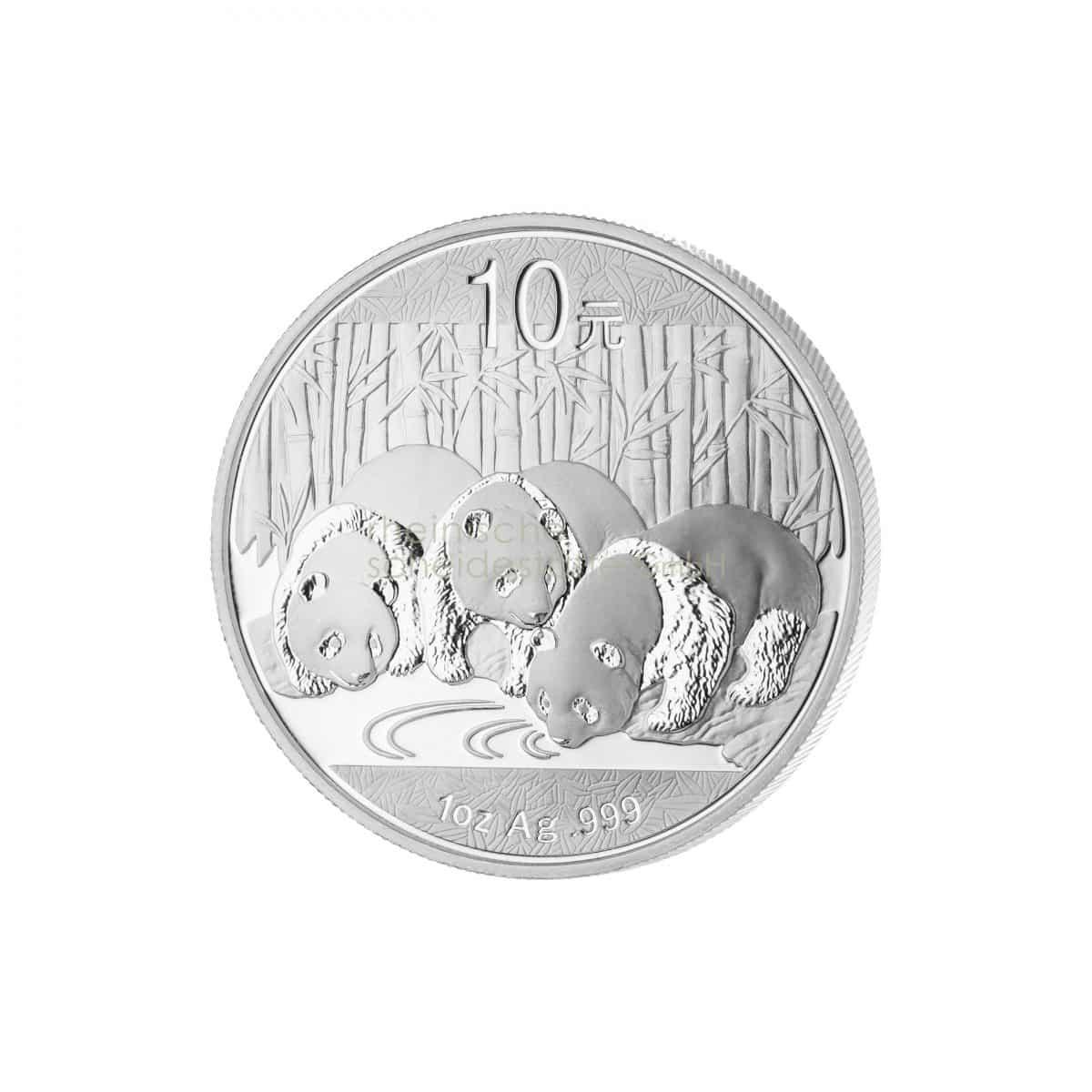 China Panda Silber Silbermünzen Vorderseite