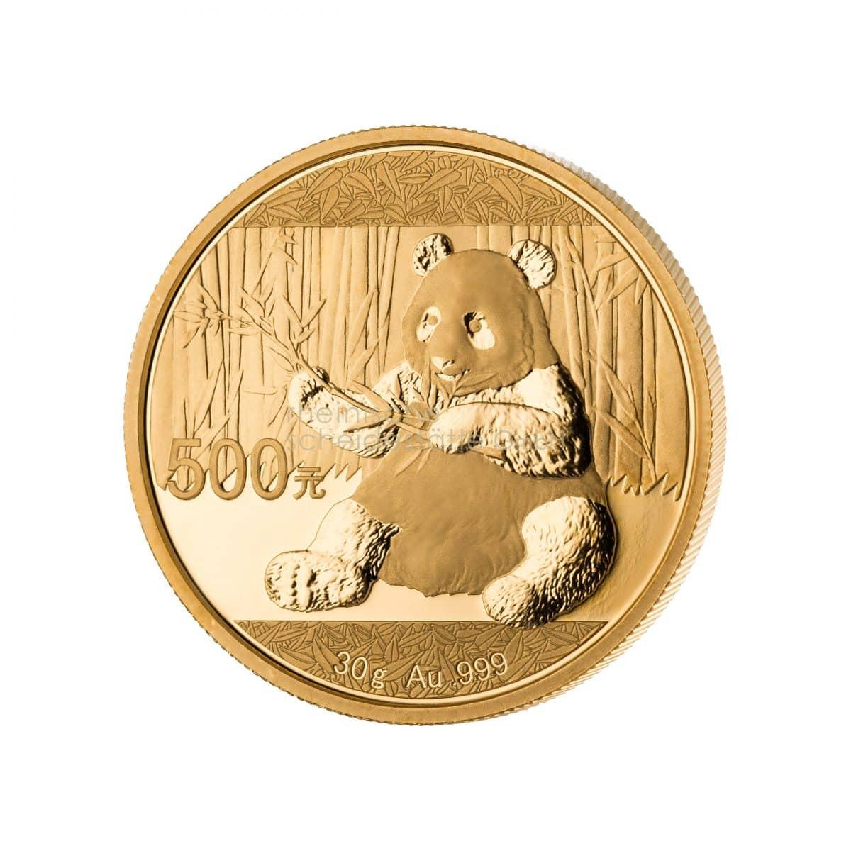 China Panda Gold Goldmünzen Vorderseite
