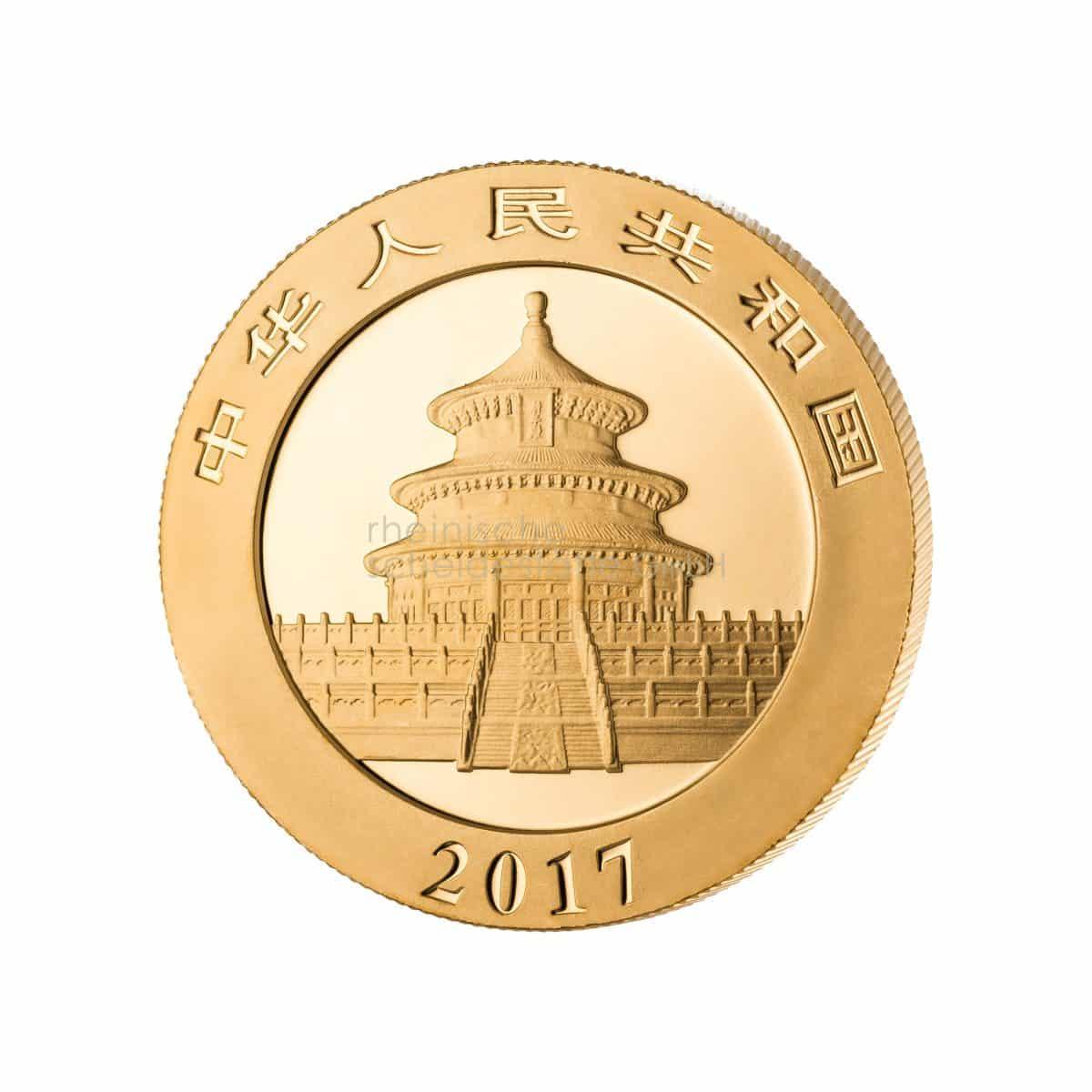 China Panda Gold Goldmünzen Rückseite