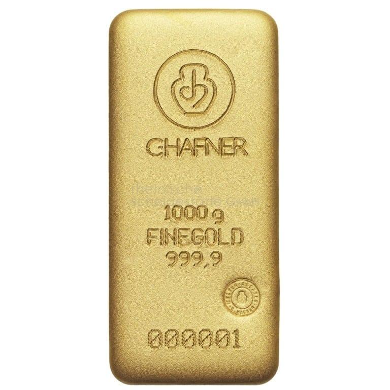 1 kg Gold Goldbarren Rückseite