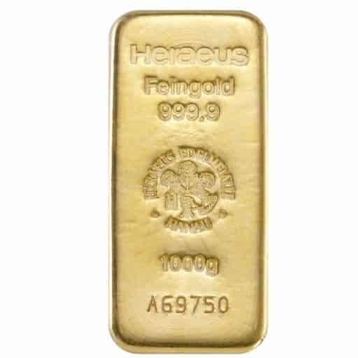 1000 g Goldbarren 999,9 Feingold Heraeus