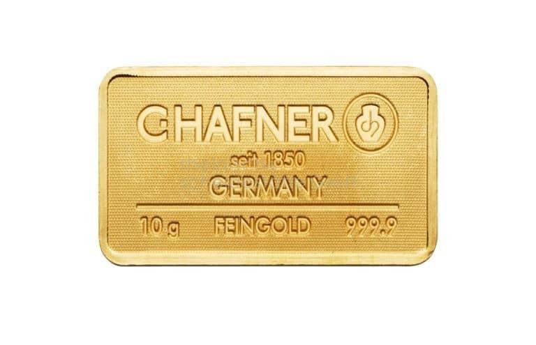 10 Gramm Gold Goldbarren Vorderseite