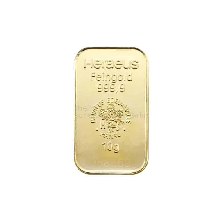 10 Gramm Gold Goldbarren Rückseite