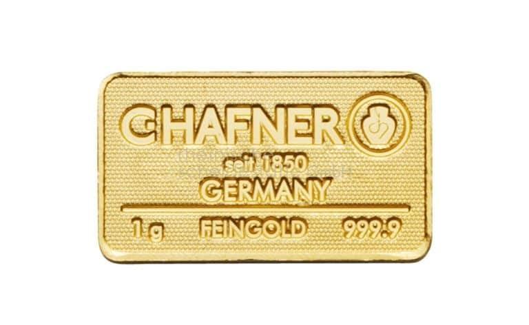 1 Gramm Gold Goldbarren Vorderseite
