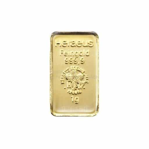 Heraeus 1 g Goldbarren