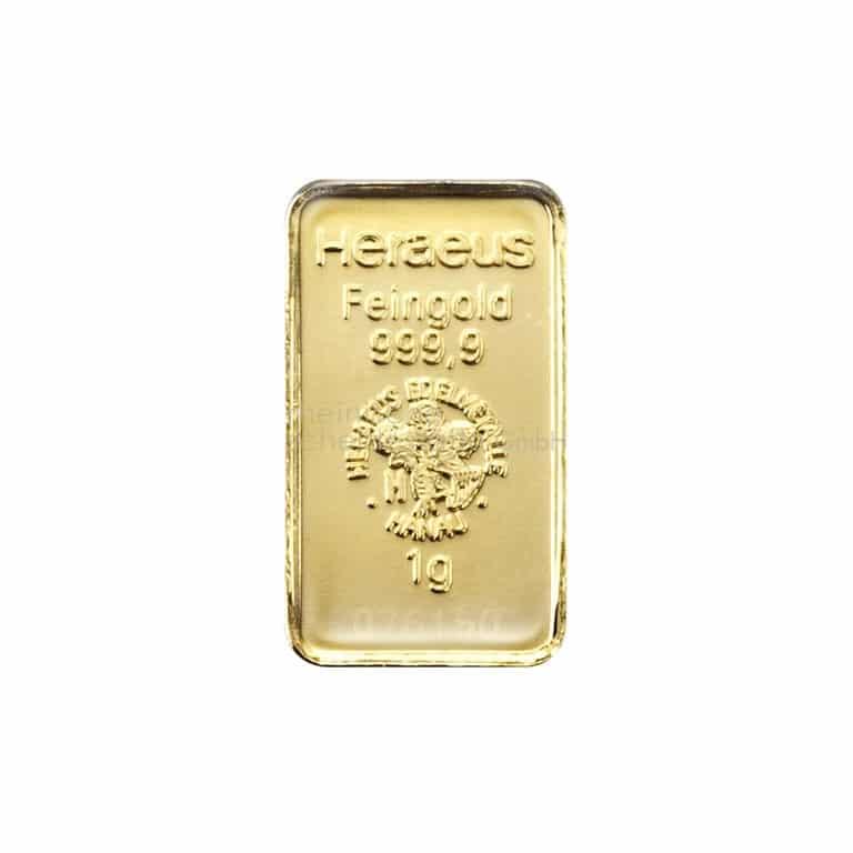 1 Gramm Gold Goldbarren Rückseite