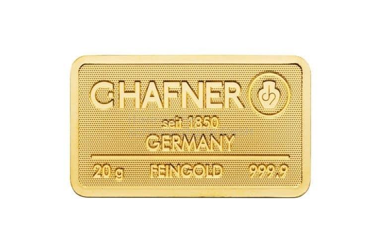 20 Gramm Gold Goldbarren Vorderseite