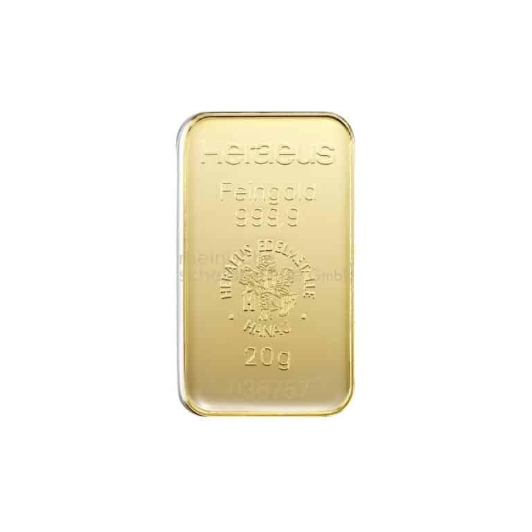 20 Gramm Gold Goldbarren Rückseite
