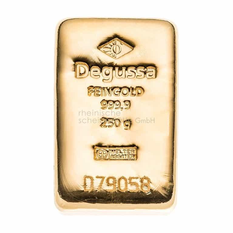 250 Gramm Gold Goldbarren Vorderseite