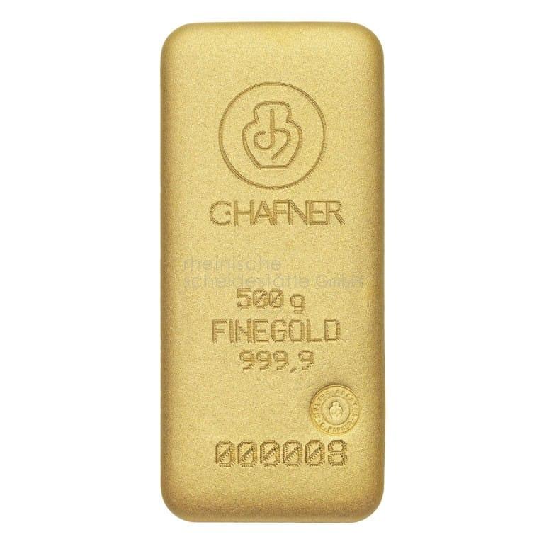 500 Gramm Gold Goldbarren Rückseite