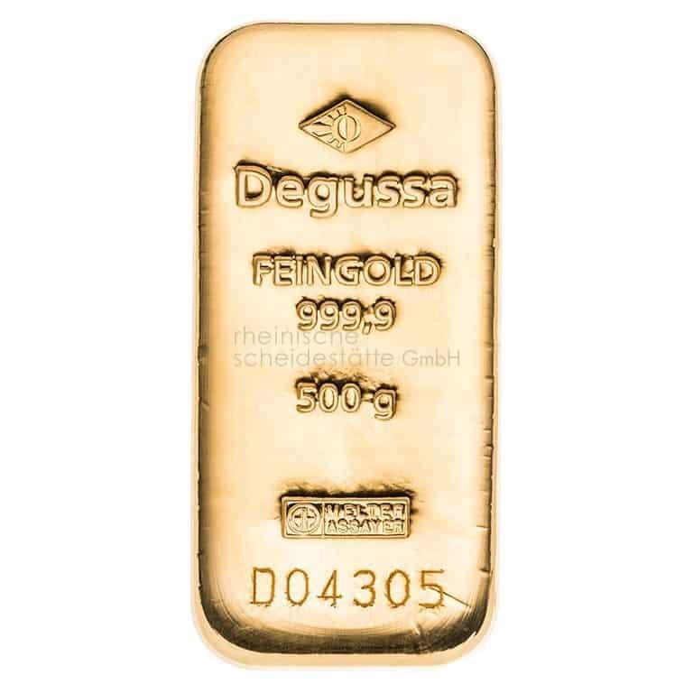 500 Gramm Gold Goldbarren Vorderseite