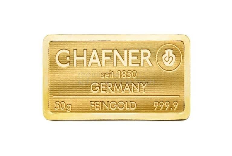 50 Gramm Gold Goldbarren Vorderseite