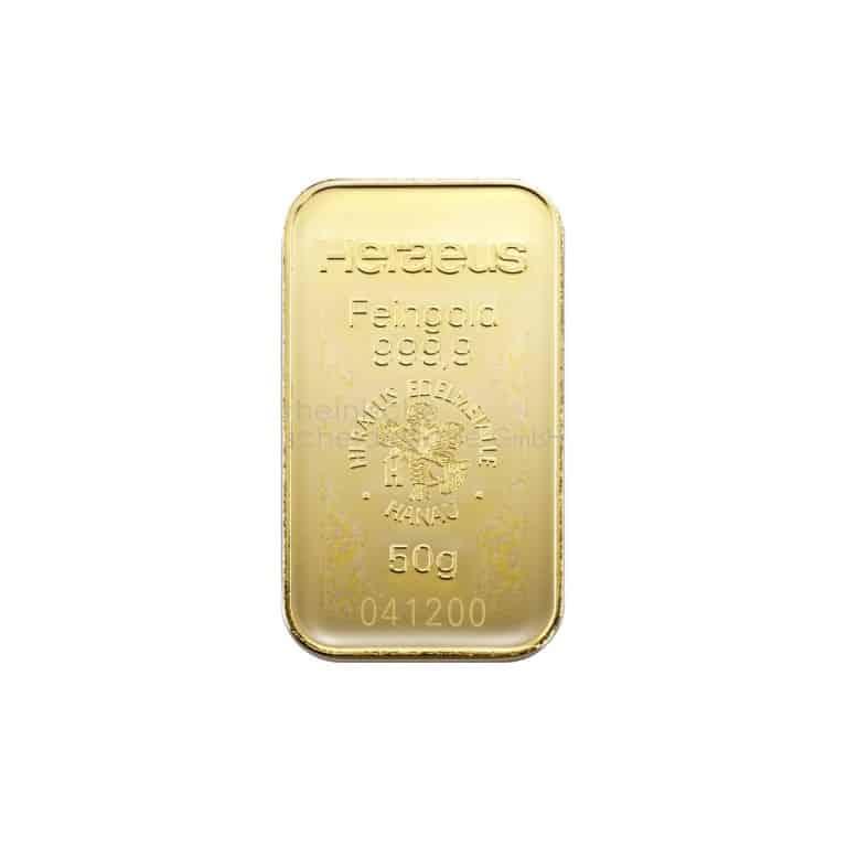 50 Gramm Gold Goldbarren Rückseite