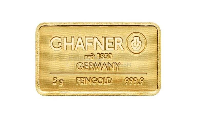 5 Gramm Gold Goldbarren Vorderseite