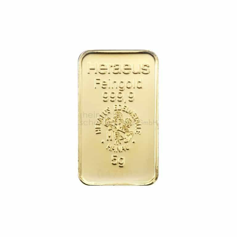 5 Gramm Gold Goldbarren Rückseite
