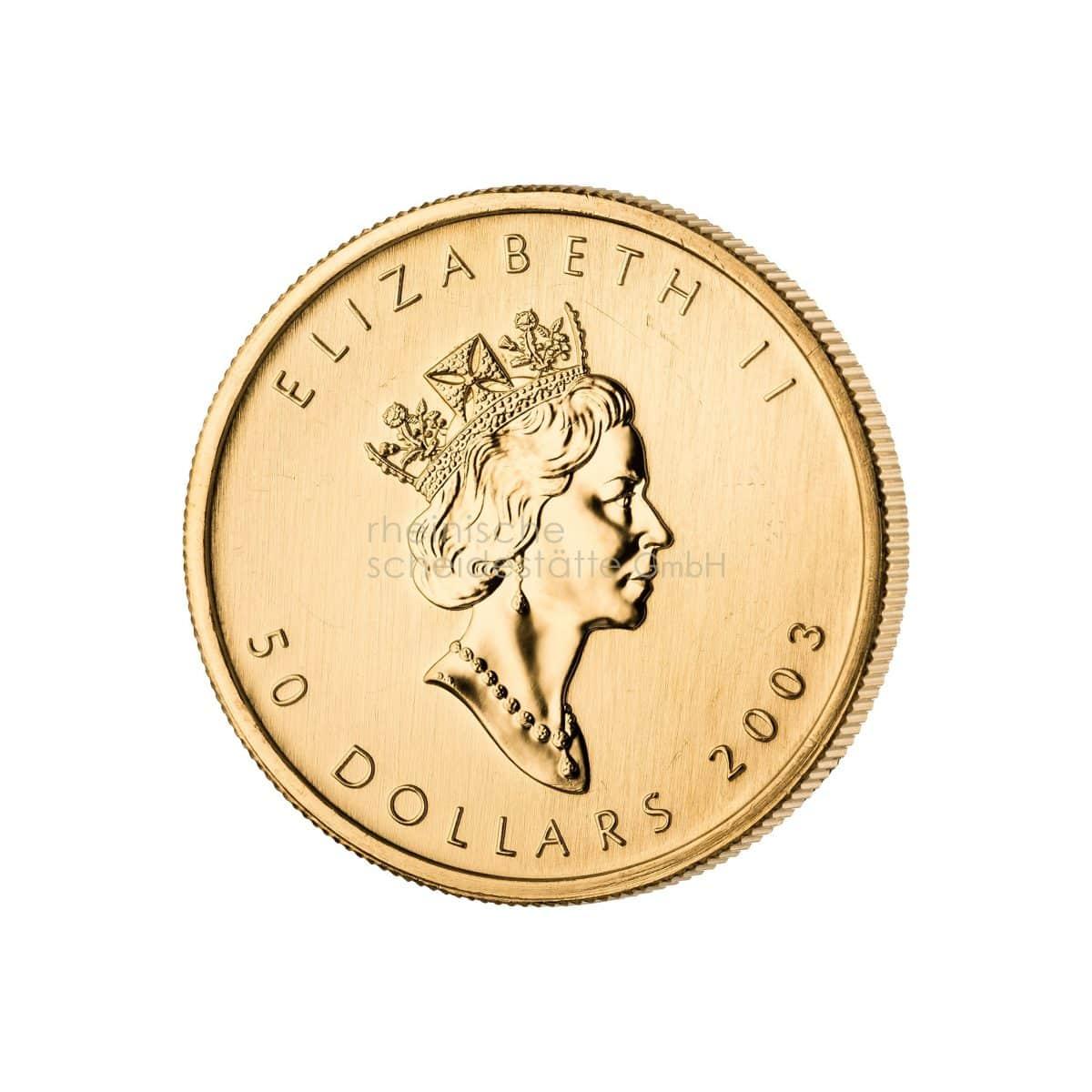Maple Leaf Gold Goldmünzen Rückseite