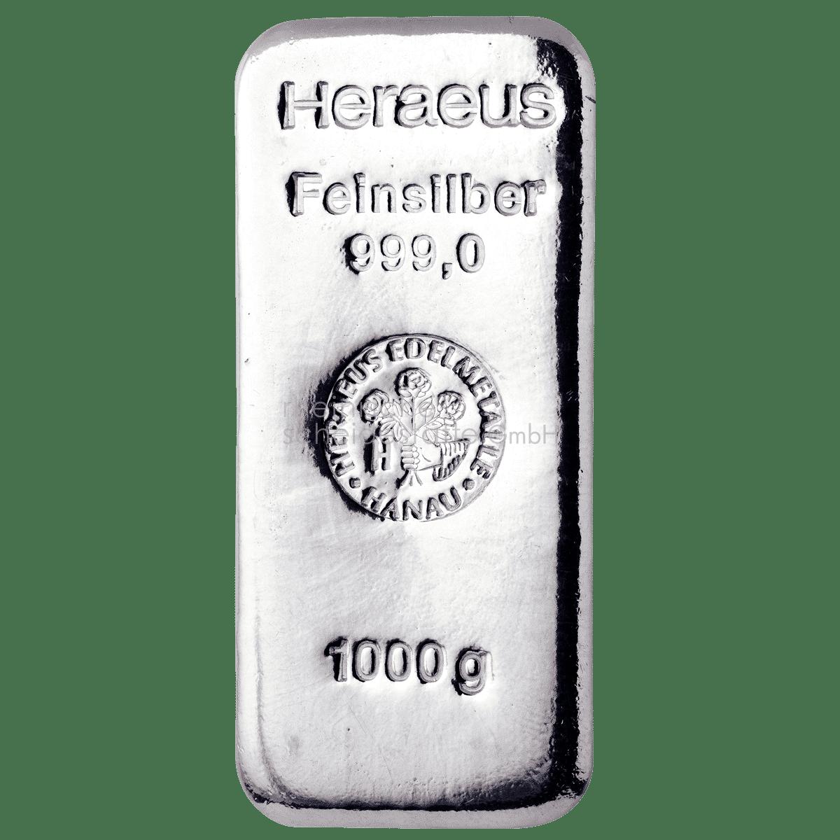 1 kg Silber Silberbarren Vorderseite