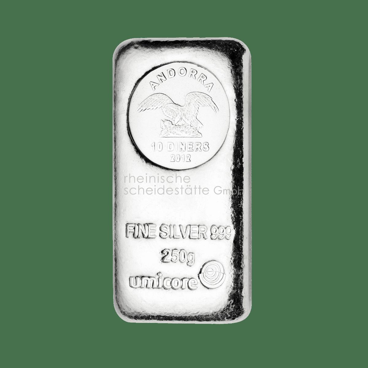 250 Gramm Silber Silberbarren Vorderseite