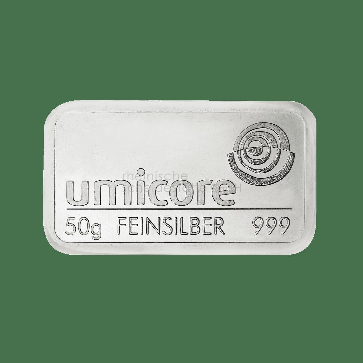 50 Gramm Silber Silberbarren Vorderseite
