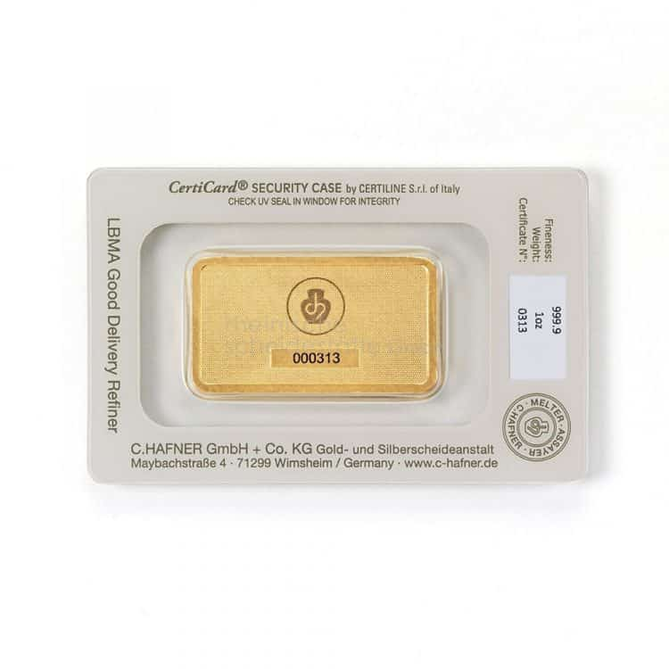 1 oz Goldbarren C.HAFNER