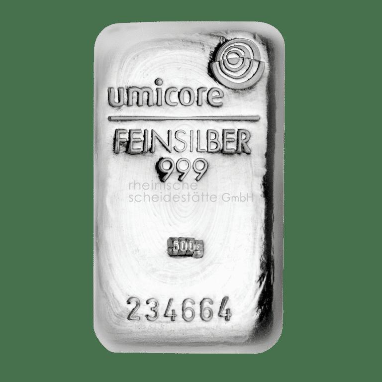 500 Gramm Silber Silberbarren Vorderseite