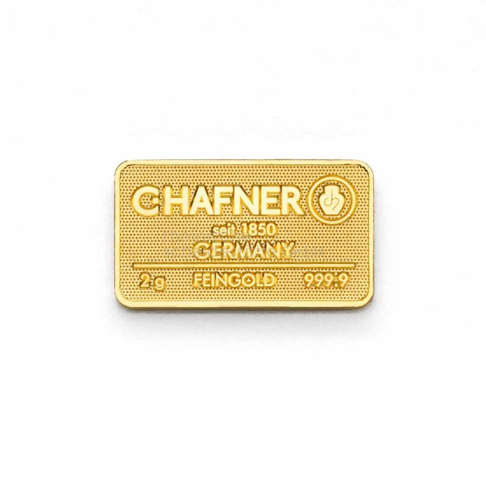 2 Gramm Gold Goldbarren Vorderseite