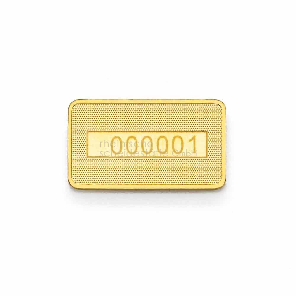 2 Gramm Gold Goldbarren Rückseite