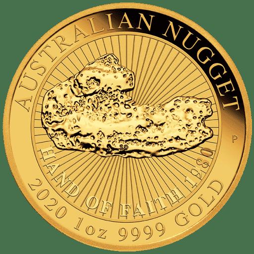 1 Unze Australian Gold Nugget Hand Of Faith Vorderseite